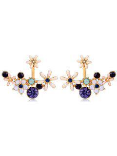 Floral Shape Rhinestone Detachable Earrings - Multi