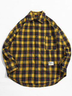 Chemise à Carreaux Avec Poche Et Boutons  - Jaune 2xl