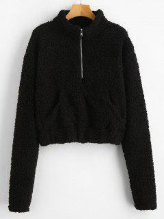 Half Zip Fluffy Faux Shearling Teddy Sweatshirt - Black S