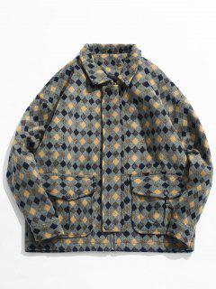 Geometric Print Pockets Woolen Jacket - Light Khaki Xl