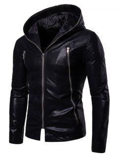 Solid Full Zipper Up PU Jacket - Black Xl