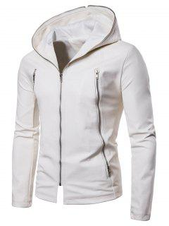 Solid Full Zipper Up PU Jacket - White L