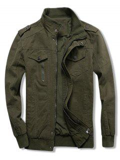 Solid Color Zipper Casual Jacket - Army Green Xl