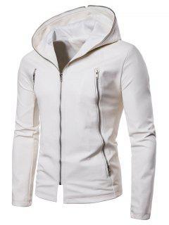 Veste En Cuir PU De Couleur Unie Avec Fermeture Éclair  - Blanc M