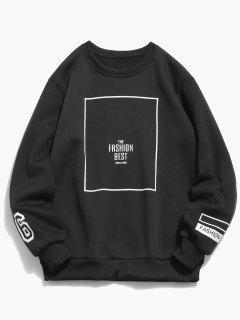 Geometric Letters Print Casual Sweatshirt - Black L