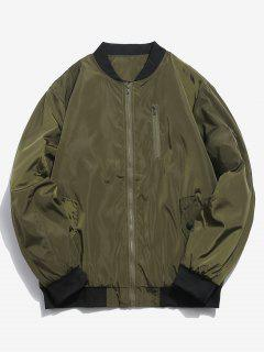 Ribbed Edge Padded Bomber Jacket - Army Green M