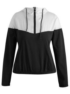 Half Zip Plus Size Two Tone Hoodie - Multi-a 3x