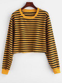 Sweat-shirt Court Rayé à Goutte Epaule - Jaune D'abeille M
