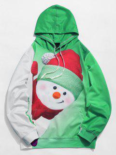 Sweat à Capuche De Noël 3D Bonhomme De Neige Imprimé Avec Poche Kangourou - Jaune Vert L