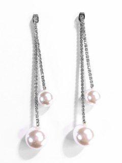 Pendientes De Perla De Decoración De Perlas Artificiales - Plata