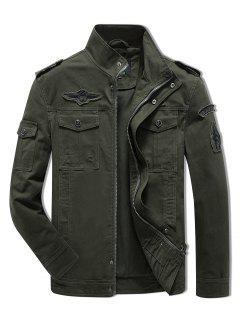 Sleeve Appliques Zipper Casual Jacket - Army Green Xl