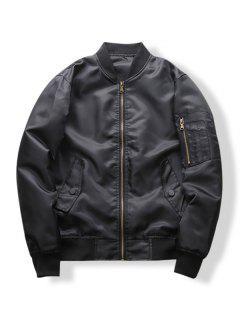 Sleeve Zipper Pocket Solid Color Casual Jacket - Black S