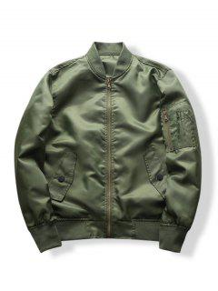 Sleeve Zipper Pocket Solid Color Casual Jacket - Army Green S