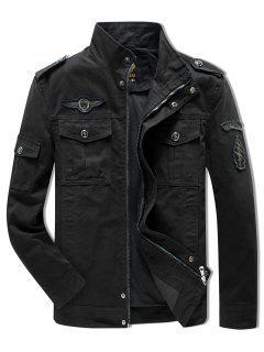 Sleeve Appliques Zipper Casual Jacket - Black Xl