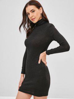 Turtleneck Long Sleeves Mini Dress - Black L
