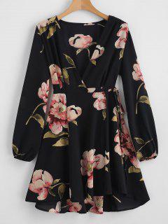 Floral Print V Neck Wrap Dress - Black L