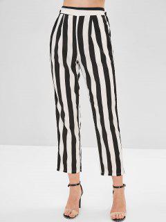 Pantalon Rayé Bicolore à Taille Haute - Multi L