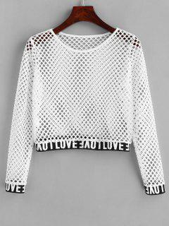 Love Hollow Out Crop Sweatshirt - White M