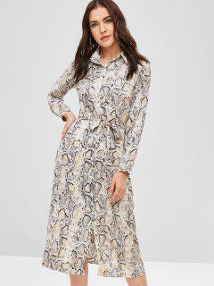 Snake Print Shirt Dress - Multi-a Xl
