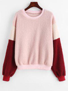 Color Block Drop Shoulder Fluffy Sweatshirt - Rose S