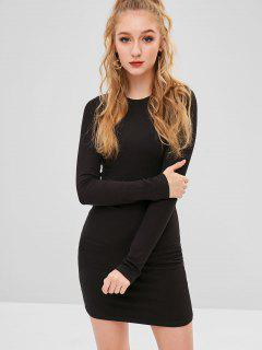Casual Plain Mini Dress - Black S