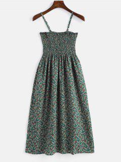Robe Camouflage à Fleurs Minuscule - Bleu Verdâtre L