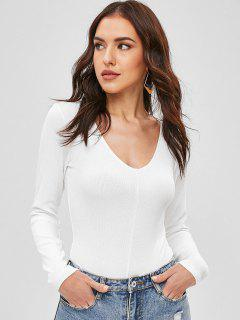 Snap Button V Neck Plain Bodysuit - White M