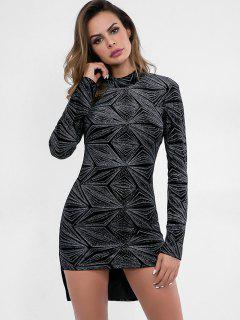 Backless Sparkle High Low Bodycon Dress - Black S