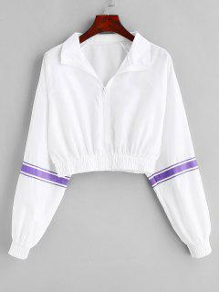 Striped Raglan Sleeve Crop Jacket - White M