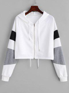 Zipper Color Block Crop Hoodie - White M