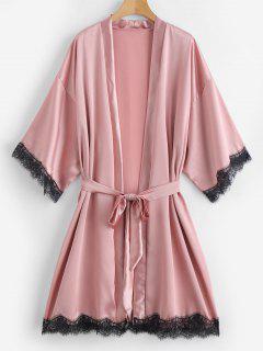 Robe Pyjama Ceinturée En Dentelle Insérée En Satin - Orange Rose L