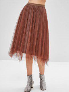Falda De Terciopelo Plisada Reversible - Marrón Oscuro