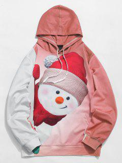 Kangaroo Pocket Snowman 3D Print Christmas Hoodie - Orange Pink L