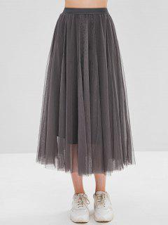 Layered Mesh A Line Skirt - Light Slate Gray