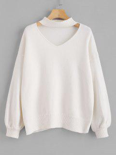 Drop Schulterausschnitt Pullover - Weiß