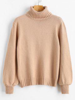 Lantern Sleeve Turtleneck Sweater - Light Khaki