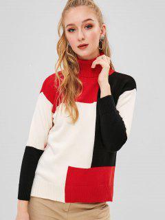 Jersey De Cuello Alto De Color Con Abertura De Cuello Alto - Multicolor