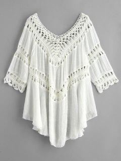 Crochet Panel Hanky Beach Cover Up Dress - White