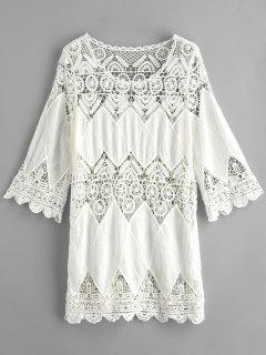 Crochet Panel Beach Cover Up Dress - Milk White