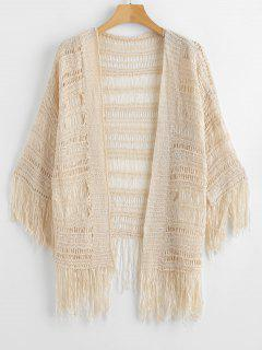 Fringed Open Crochet Beach Cover Up - Warm White