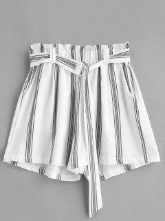 Shorts A Rayas Con Cinturón En D - Blanco M