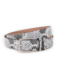 Vintage Snake Pattern Embellished Skinny Belt - Gray