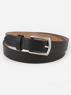 Vintage Solid Color Faux Leather Waist Belt - Black