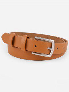 Vintage Solid Color Faux Leather Waist Belt - Camel Brown