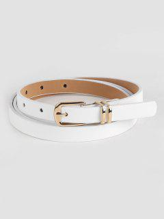 Stylish Metal Buckle Artificial Leather Pant Belt - White