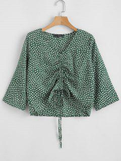 V Neck Cinched Tiny Floral Blouse - Green L