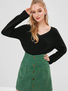 ZAFUL V Neck Raglan Sleeve Sweater - Black
