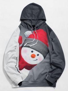 Kangaroo Pocket Snowman 3D Print Christmas Hoodie - Black L