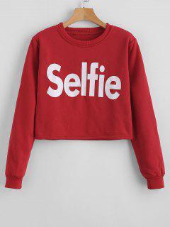 Letter Graphic Crop Sweatshirt - Red Xl