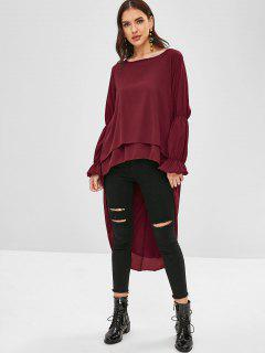 High Low Asymmetric Casual Blouse - Red Wine L
